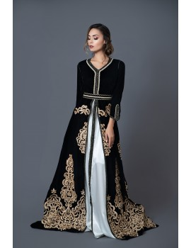 Caftan in black velvet and bronze embroidery