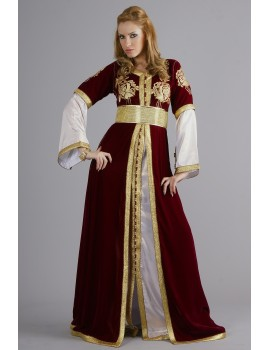 Kaftan royal  en velour bordeau,