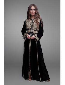 One-piece caftan in black velvet embroidered with gold