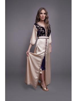 Caftan with pants, velvet and silk satin