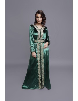 Royal green silky velvet caftan with gold embroidery