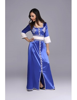 Royal blue and white caftan, embroidered and fancy fabric