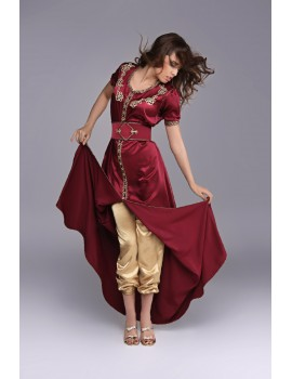 Burgundy kaftan with matching pants.