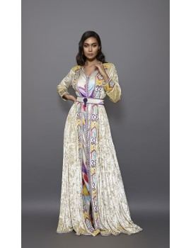 Caftan with Berber inspirations mythical colors and geometric patterns