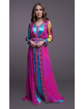 Printed satin and chiffon dress in bright colors